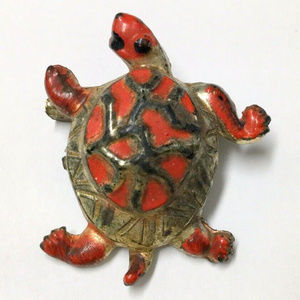 vintage enamel turtle brooch pin animal